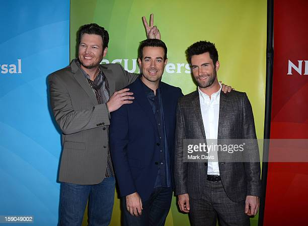 Blake Shelton Carson Daly and Adam Levine pose at the 2013 TCA Winter Press Tour NBC Universal Day 1 at The Langham Huntington Hotel and Spa on...