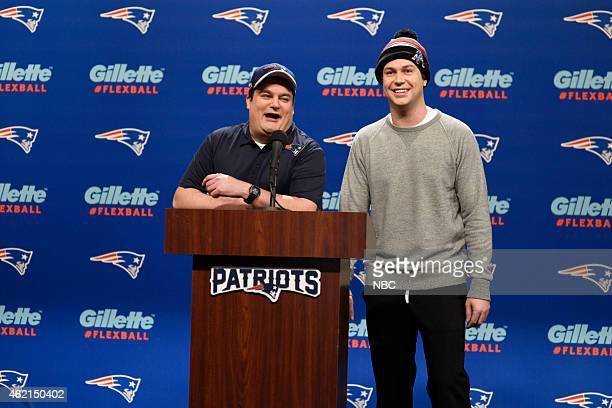 LIVE Blake Shelton Episode 1674 Pictured Bobby Moynihan as Dougie Spoons and Taran Killam as Tom Brady during the Patriots Press Conference Cold Open...