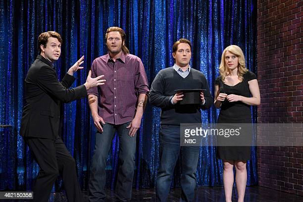 LIVE Blake Shelton Episode 1674 Pictured Taran Killam Blake Shelton Beck Bennett and Kate McKinnon during the Magician skit on January 24 2015