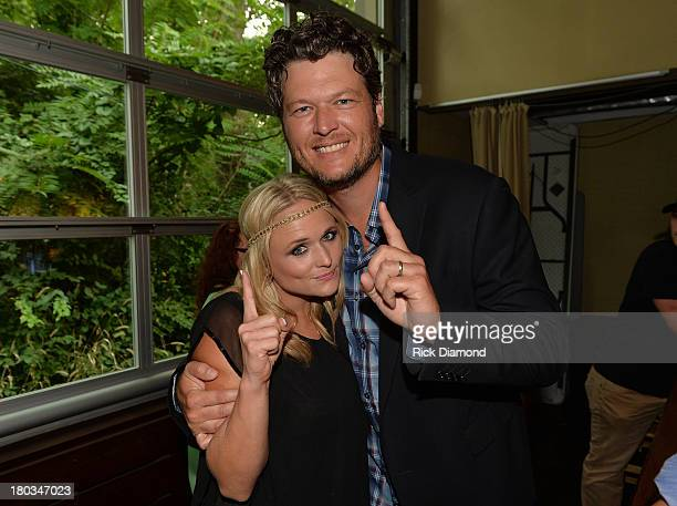 Blake Shelton joins his wife Miranda Lambert to Celebrate her No1 Song Mama's Broken Heart with co writers Kacey Musgraves Brandy Clark and Shane...