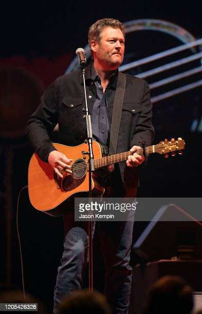 Blake Shelton performs at All for the Hall: Under the Influence Benefiting the Country Music Hall of Fame and Museum at Bridgestone Arena on February...