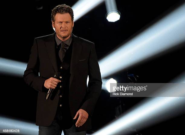 Blake Shelton performs during the 48th annual CMA Awards at the Bridgestone Arena on November 5 2014 in Nashville Tennessee