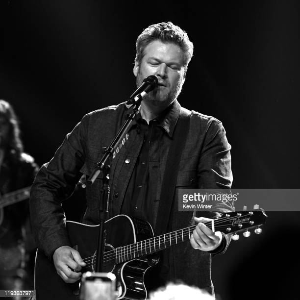 Blake Shelton performs live on stage at iHeartCountry Album Release Party with Blake Shelton at iHeartRadio Theater on December 12 2019 in Burbank...