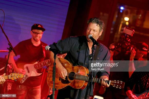 Blake Shelton performs on stage at Spotify's Hot Country Presents Hunter Hayes Chris Lane Michael Ray and more at Ole Red During CMA Fest at Ole Red...