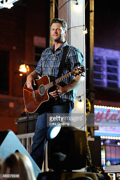 Blake Shelton performs onstage at the 2014 CMT Music Awards at Bridgestone Arena on June 4 2014 in Nashville Tennessee