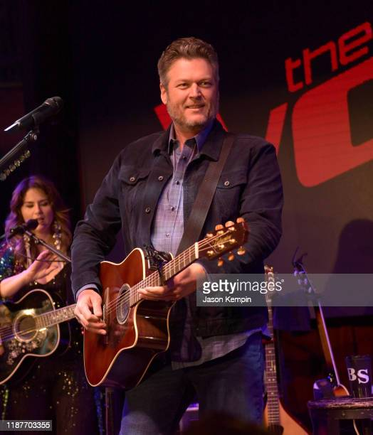 """Blake Shelton performs onstage at the """"The Voice"""" Visits Nashville press conference at Ole Red on November 14, 2019 in Nashville, Tennessee."""