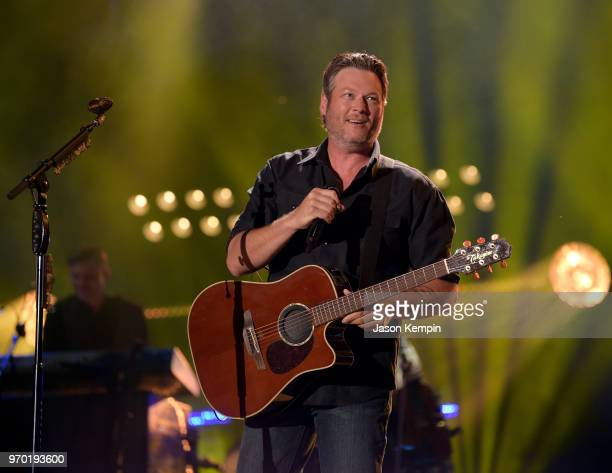 Blake Shelton performs onstage during the 2018 CMA Music festival at Nissan Stadium on June 8, 2018 in Nashville, Tennessee.