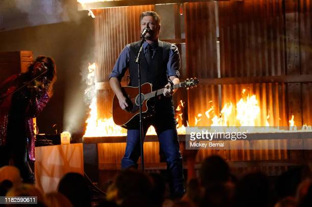 Blake Shelton performs onstage during the 53rd annual CMA Awards at the Bridgestone Arena on November 13 2019 in Nashville Tennessee