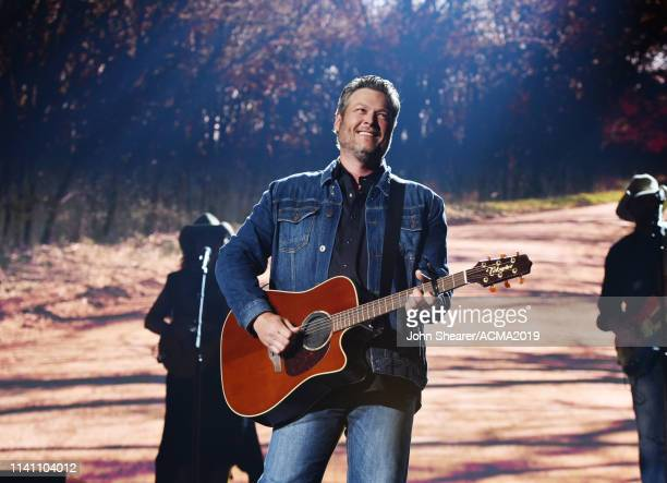 Blake Shelton performs onstage during the 54th Academy Of Country Music Awards at MGM Grand Garden Arena on April 07 2019 in Las Vegas Nevada