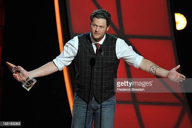 Blake Shelton speaks after receiving the CMA Award for Entertainer of the Year during the 46th annual CMA awards at the Bridgestone Arena on November...
