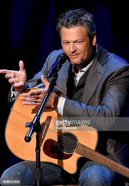 Blake Shelton speaks onstage during an interview at the Country Music Hall of Fame and Museum on June 6 2016 in Nashville Tennessee