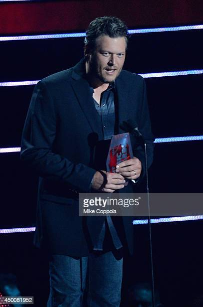 Blake Shelton speaks onstage during the 2014 CMT Music awards at the Bridgestone Arena on June 4 2014 in Nashville Tennessee