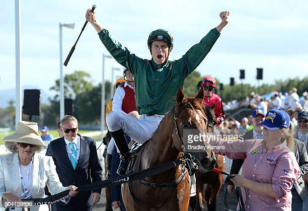 Blake Shinn celebrates after riding Capitalist to victory in the JEEP Magic Millions 2yr old Classic during the Magic Millions Raceday at Gold Coast...