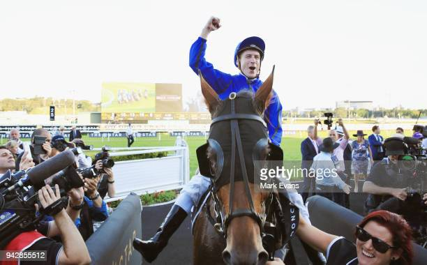 Blake Shinn on Happy Clapper returns to scale after winning race 9 The Doncaster during day one of The Championships at Royal Randwick Racecourse on...