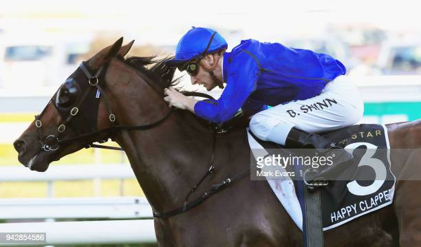 Blake Shinn on Happy Clapper wins race 9 The Doncaster during day one of The Championships at Royal Randwick Racecourse on April 7 2018 in Sydney...