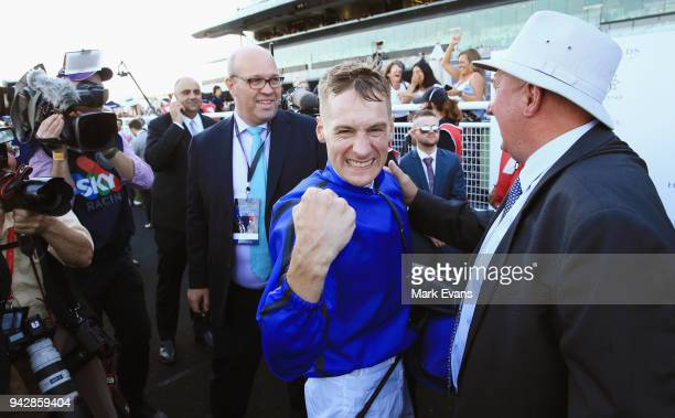 Blake Shinn returns to scale after winning race 9 The Doncaster during day one of The Championships at Royal Randwick Racecourse on April 7 2018 in...