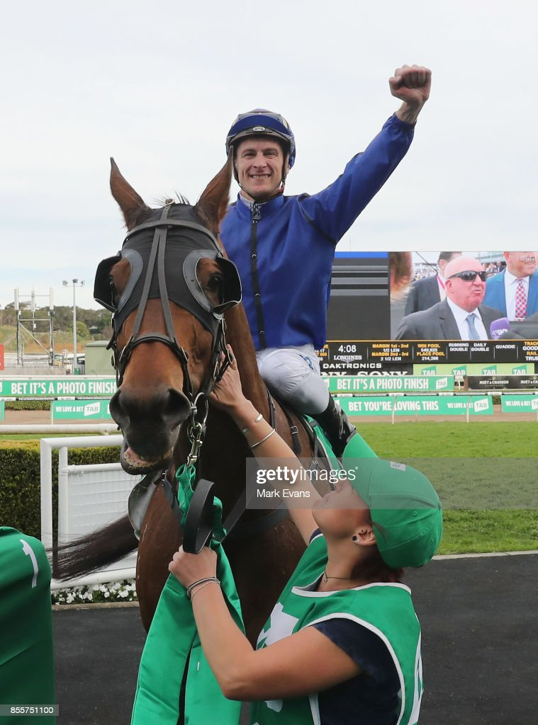 Bl;ake Shinn returns to scale on Happy Clapper after winning the Epsom Handicap during Sydney Racing at Royal Randwick Racecourse on September 30, 2017 in Sydney, Australia.