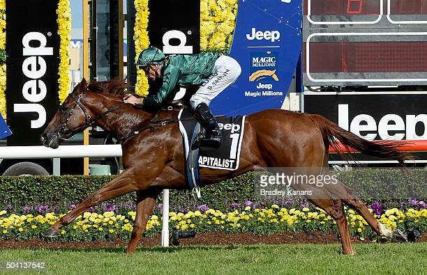 Blake Shinn rides Capitalist to victory in the JEEP Magic Millions 2yr old Classic during Magic Millions Raceday at Gold Coast Turf Club on January...