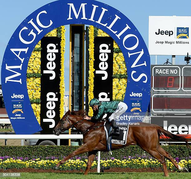 Blake Shinn rides Capitalist to victory in the JEEP Magic Millions 2yr old Classic during the Magic Millions Raceday at Gold Coast Turf Club on...