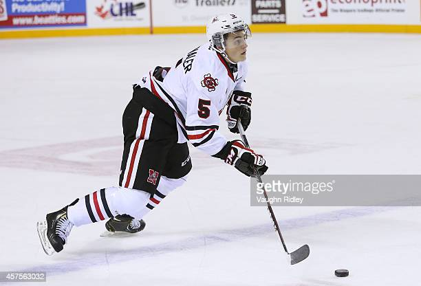 Blake Siebenaler of the Niagara Ice Dogs heads up ice during an OHL game between the Sudbury Wolves and the Niagara Ice Dogs at the Meridian Centre...