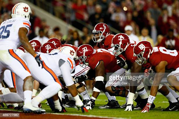 Blake Sims of the Alabama Crimson Tide calls a play on 4th and 1 in the second quarter against the Auburn Tigers during the Iron Bowl at BryantDenny...