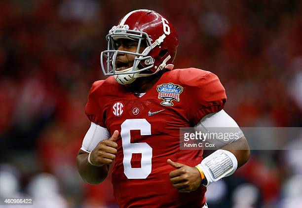 Blake Sims of the Alabama Crimson Tide reacts after a play in the first quarter against the Ohio State Buckeyes during the All State Sugar Bowl at...