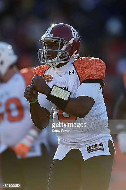 Blake Sims of the South team looks to the sideline for a play during the second quarter of the Reese's Senior Bowl against the North team at Ladd...