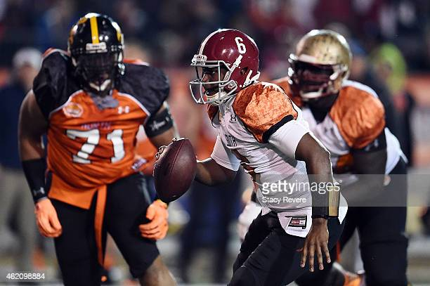 Blake Sims of the South team runs for yards against the North team during the fourth quarter of the Reese's Senior Bowl at Ladd Peebles stadium on...