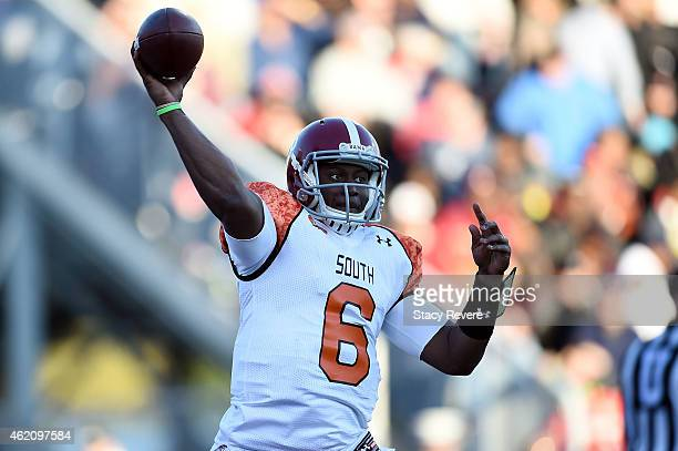 Blake Sims of the South team throws a pass against the North team during the second quarter of the Reese's Senior Bowl at Ladd Peebles stadium on...