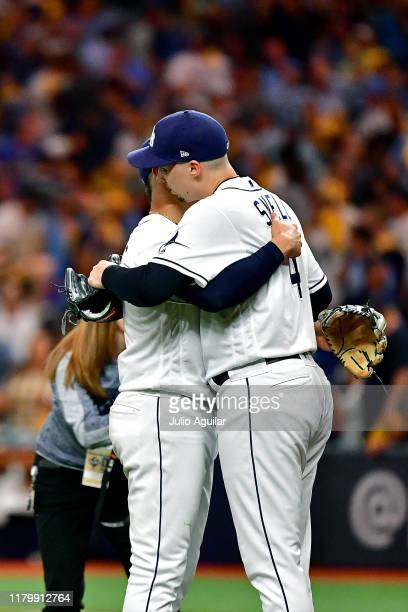 Blake Snell and Willy Adames of the Tampa Bay Rays celebrate their teams 41 win over the Houston Astros in game four of the American League Division...