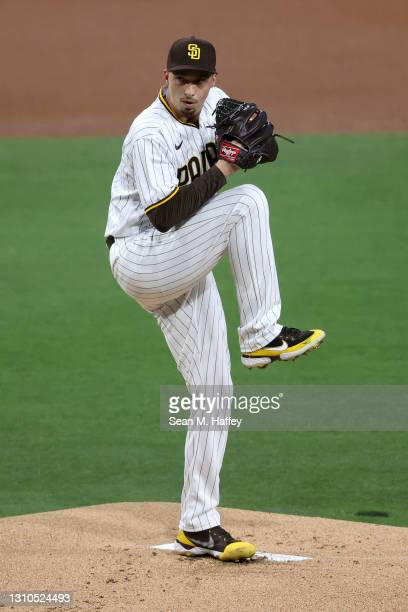 Blake Snell of the San Diego Padres pitches during the first inning of a game against the Arizona Diamondbacks at PETCO Park on April 02, 2021 in San...