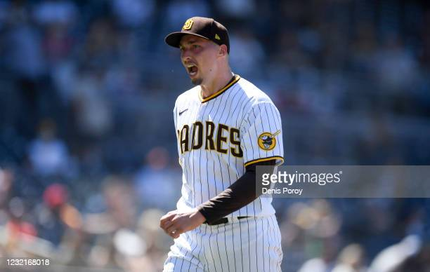 Blake Snell of the San Diego Padres yells as he leaves the game during the ffith inning of a baseball game against the San Francisco Giants at Petco...