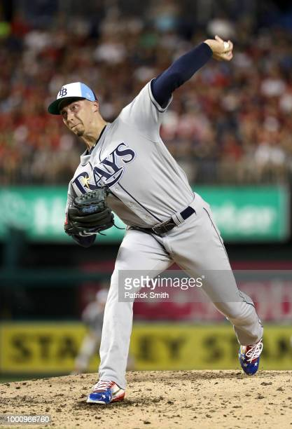 Blake Snell of the Tampa Bay Rays and the American League pitches in the third inning during the 89th MLB AllStar Game presented by Mastercard at...