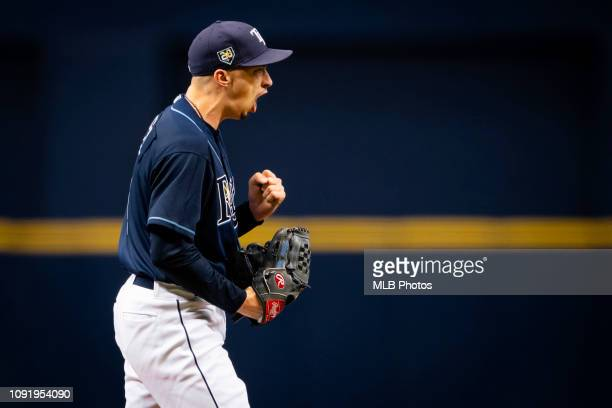 Blake Snell of the Tampa Bay Rays celebrates after a strikeout during a game at Tropicana Field against the Toronto Blue Jays on September 29 2018 in...
