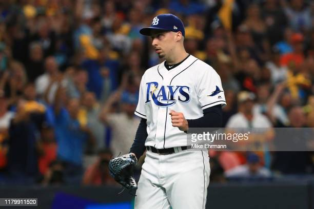 Blake Snell of the Tampa Bay Rays celebrates his teams 41 win over the Houston Astros in game four of the American League Division Series at...
