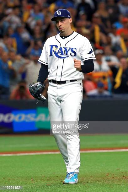 Blake Snell of the Tampa Bay Rays celebrates his teams 4-1 win over the Houston Astros in game four of the American League Division Series at...
