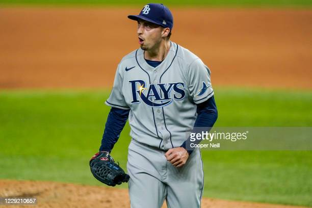 Blake Snell of the Tampa Bay Rays celebrates in the fourth inning during Game 2 of the 2020 World Series between the Los Angeles Dodgers and the...