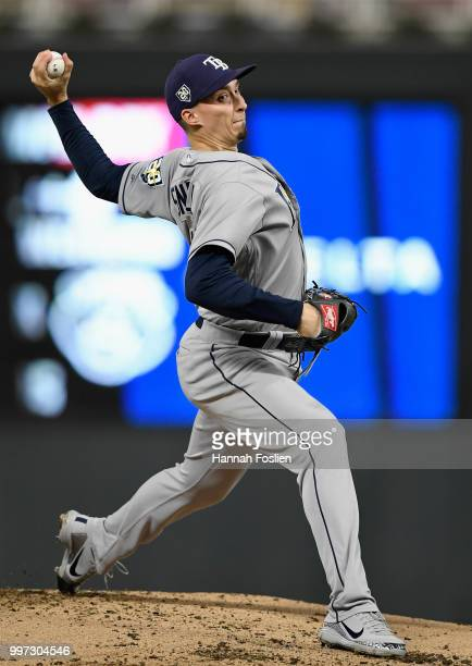 Blake Snell of the Tampa Bay Rays delivers a pitch against the Minnesota Twins during the first inning of the game on July 12 2018 at Target Field in...