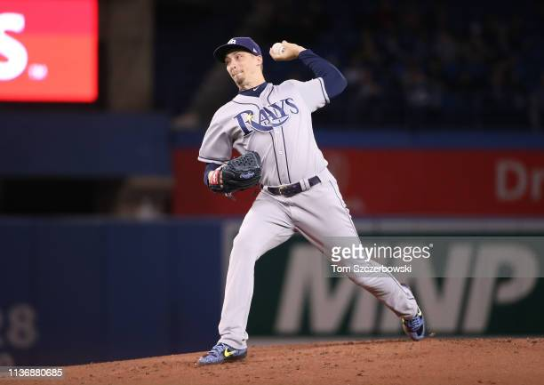 Blake Snell of the Tampa Bay Rays delivers a pitch in the first inning during MLB game action against the Toronto Blue Jays at Rogers Centre on April...