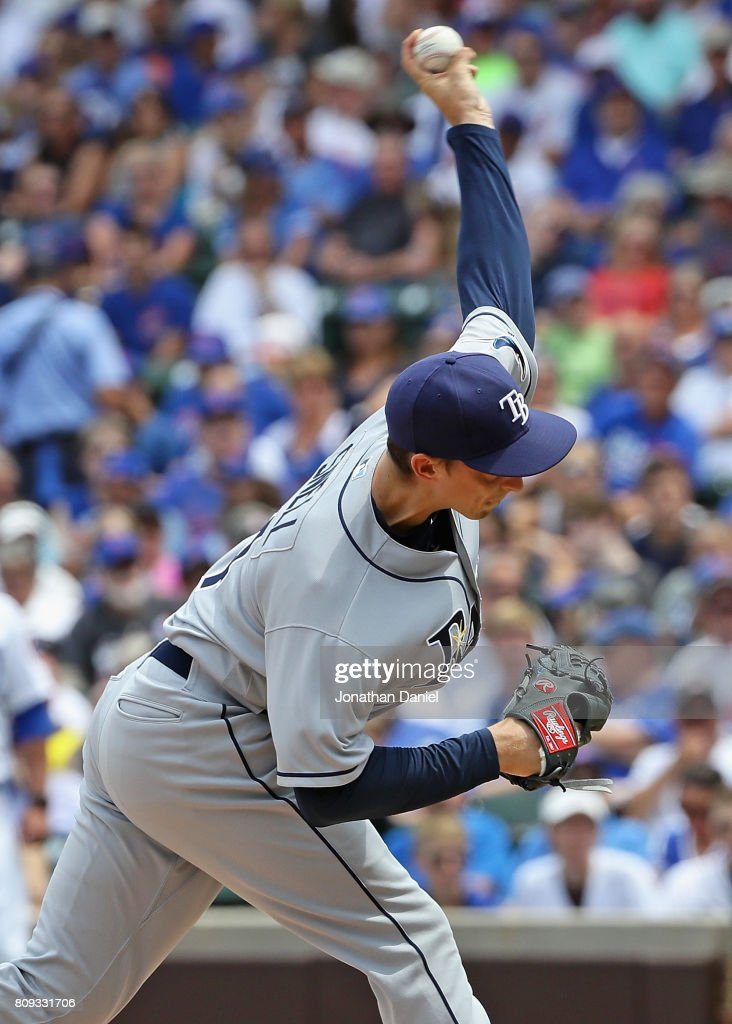 Blake Snell #4 of the Tampa Bay Rays delivers the ball against the Chicago Cubs at Wrigley Field on July 5, 2017 in Chicago, Illinois.