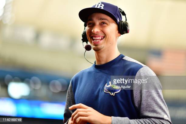 Blake Snell of the Tampa Bay Rays gets interviewed by the MLB Network before a game against the Colorado Rockies at Tropicana Field on April 03, 2019...