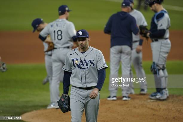 Blake Snell of the Tampa Bay Rays is taken out of the game in the sixth inning of Game 6 of the 2020 World Series between the Los Angeles Dodgers and...