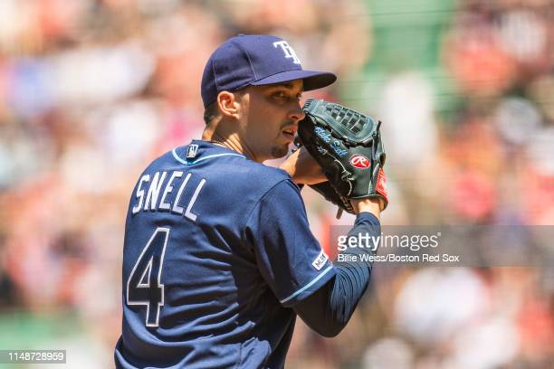 Blake Snell of the Tampa Bay Rays looks on during the second inning of a game against theBoston Red Sox on June 9 2019 at Fenway Park in Boston...