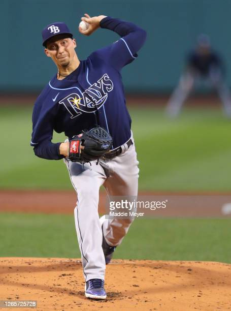 Blake Snell of the Tampa Bay Rays pitches against the Boston Red Sox during the first inning at Fenway Park on August 12, 2020 in Boston,...