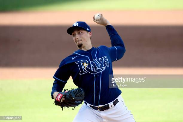 Blake Snell of the Tampa Bay Rays pitches against the Houston Astros during the first inning in Game Six of the American League Championship Series...