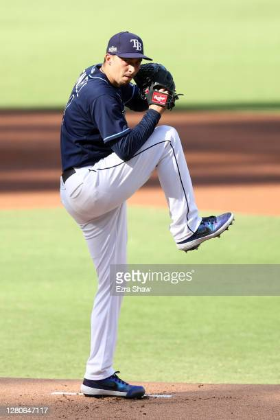Blake Snell of the Tampa Bay Rays pitches against the Houston Astros during the third inning in Game Six of the American League Championship Series...