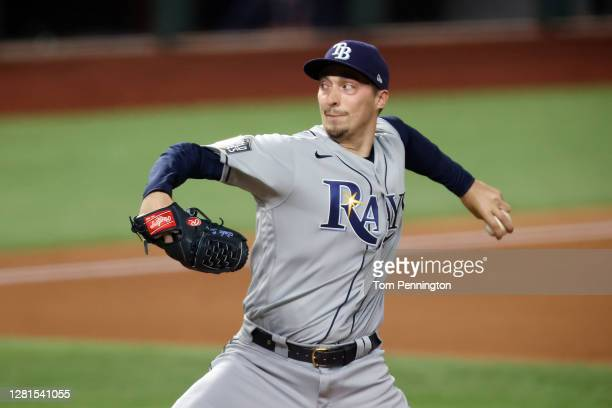 Blake Snell of the Tampa Bay Rays pitches against the Los Angeles Dodgers during the first inning in Game Two of the 2020 MLB World Series at Globe...