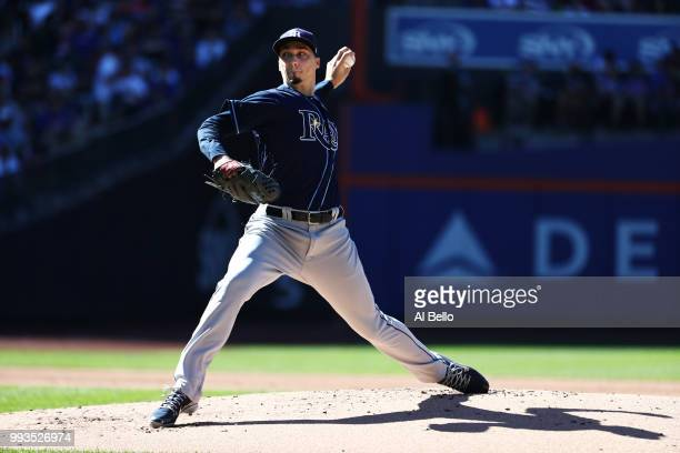 Blake Snell of the Tampa Bay Rays pitches against the New York Mets during their game at Citi Field on July 7 2018 in New York City