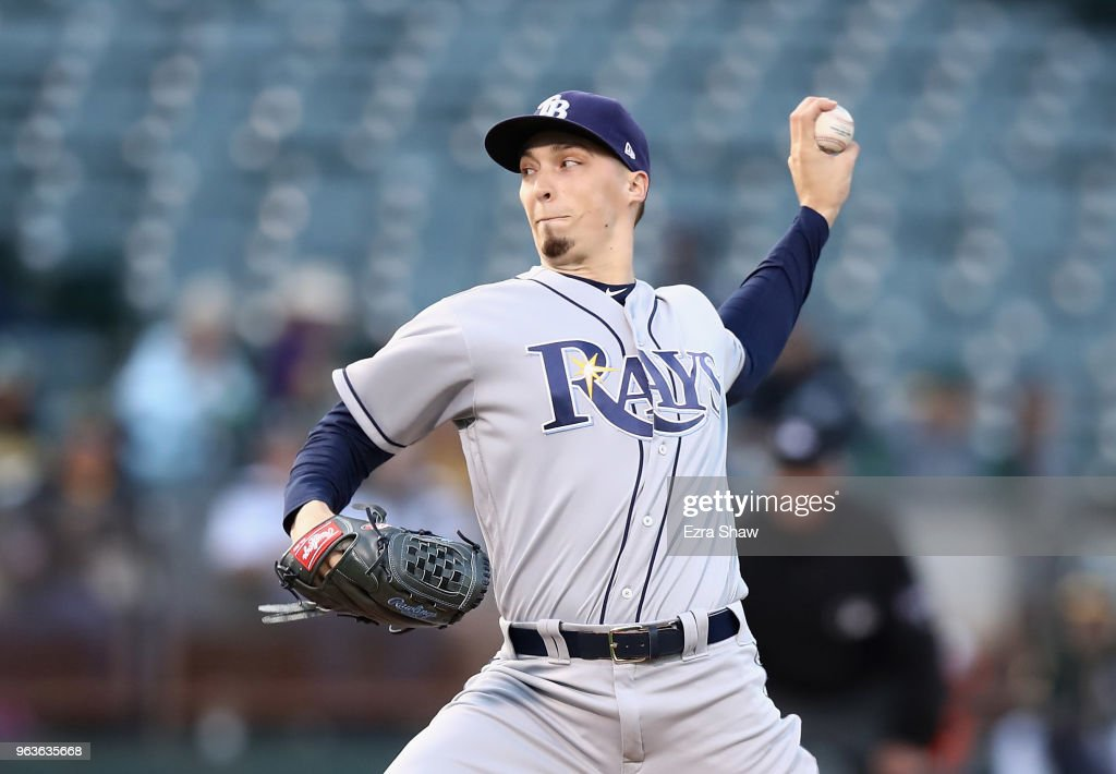Blake Snell #4 of the Tampa Bay Rays pitches against the Oakland Athletics in the first inning at Oakland Alameda Coliseum on May 29, 2018 in Oakland, California.