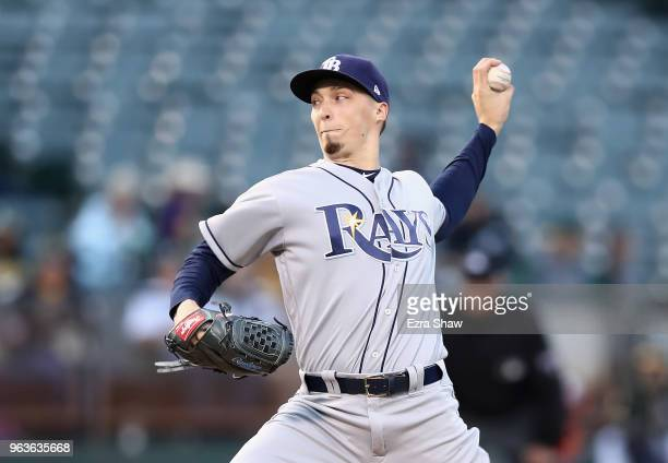 Blake Snell of the Tampa Bay Rays pitches against the Oakland Athletics in the first inning at Oakland Alameda Coliseum on May 29 2018 in Oakland...